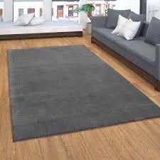 teppich kurzflor teppich für wohnzimmer soft weich waschbar in dunkel grau