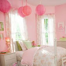 Girls Bedroom Design With Bedding And Four Post Bed Standard Curtain Lengths Also Paper Lanterns