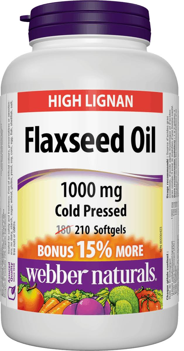 Webber Naturals Flaxseed Oil Cold Pressed Dietary Supplement - 1000mg, 210ct