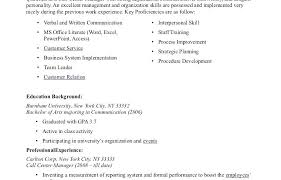 Resume Sample For Call Center Experience Elegant No Examples Of Applicant Outstanding Agent Templates Training Manual