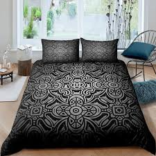 abstract floral bedding set vintage style grey comforter cover retro celtic pattern quilt cover with zipper closure for women1 duvet cover
