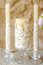 Caramel Lace Wedding Unity Candles Rustic Chic Vintage Ideas Country Candle Set 3pcs
