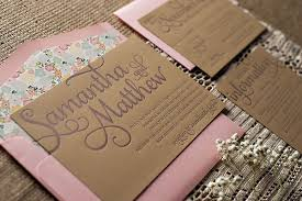 Romantic Rustic Letterpress Wedding Invitations