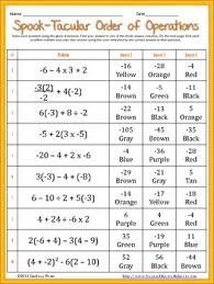 Halloween Multiplication Worksheets Coloring by Order Of Operations With Integers Coloring Worksheet Math
