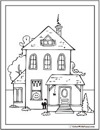 Halloween Coloring Pages House Ghost Cat Sheet