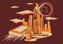 lady justice vector illustration in wood carving design style