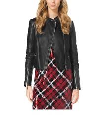 Quilted Leather Paneled Moto Jacket