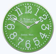 This Lime Green Clock Looks Great With Its Vibrant Color And Vintage Style Typeface
