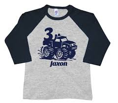 100 Monster Truck Shirts Personalized Birthday Shirt Croppedlong Sleeves