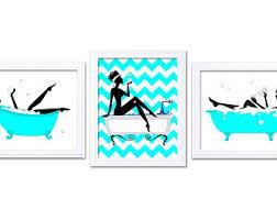 Chevron Print Bathroom Decor by Aqua Bathroom Etsy