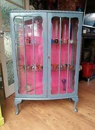 shabby chic hand painted vintage bow front glass display cabinet