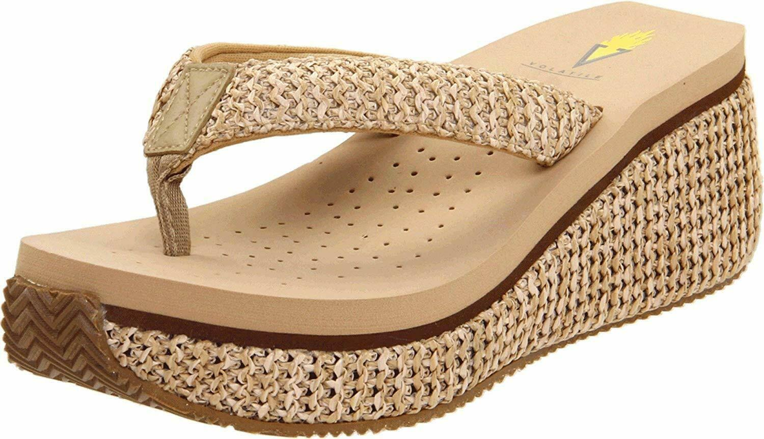 Volatile Women's Island Wedge Sandals - Natural, 10 USW