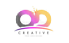 OD O D Letter Logo Design With Magenta Dots And Swoosh Stock Vector