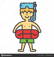 Boy With Swimming Mask And Ring In Pool Kids Learn To Swim Children Beach Vacation Concept Line Vector Icon Editable Stroke