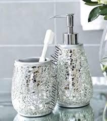 Bathroom Tumbler Used For by Bathroom Soap Dispenser Set Walmart Silver Sparkle Mirror Glass
