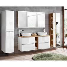 lomadox badmöbel set toskana 56 spar set 9 tlg weiß hochglanz mit keramik doppel waschtisch led touch spiegel bxhxt ca 260 190 48cm