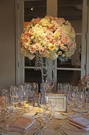 Blush Ivory Gold tall wedding reception centerpiece Auberge du