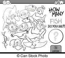 Counting Fish Coloring Book