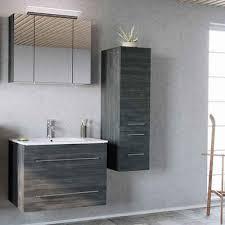 lomadox badmöbel set abuja 02 spar set 3 tlg badmöbel mit 80cm keramik waschtisch graphit struktur b h t 131 200 46cm