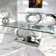 details zu cc design couchtisch edelstahl wohnzimmertisch glas tisch 130x70x42 cm