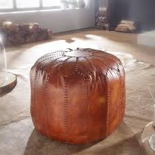 wohnling sitzhocker echtleder braun 52 x 40 x 52 cm ottomane wohnzimmer design pouf hocker orientalisch polsterhocker orient beinablage sofa