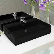 homestore24 luxus keramik waschbecken rechteckig überlauf