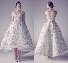 2016 high neck arabic evening dresses ruffles hi lo embroidered