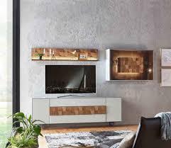 leonardo wohnzimmer set liv 4 tlg massivholzkacheln enthalten mit hängevitrine und wandpaneel in mattglas grau