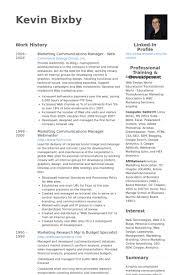 Marketing Communications Manager Resume Samples