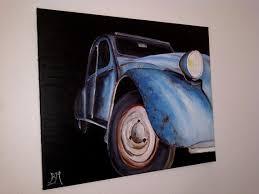 série 2cv peinture à l huile sur toile en coton grand format
