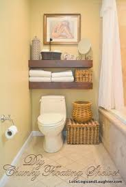Storage Organization Thick Wooden Floating Bathroom Shelves Ideas