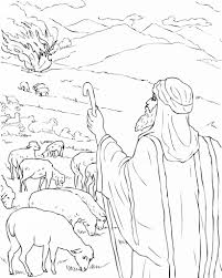 Moses And The Burning Bush Coloring Pages Free Printable For