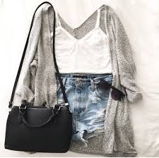 Top Summer Outfits Outfit Tumblr Denim Shorts Cute Spring Cardigan Grey High