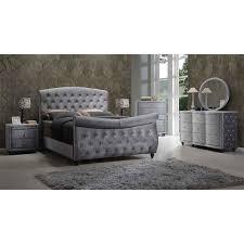 Gray Velvet King Headboard by Meridian Furniture Hudson Sleigh K Hudson Grey Velvet King Sleigh