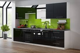 küchenzeile schwarz hochglanz weiß 260 cm küche küchenblock mdf arbeitsplatte relinggriffe modern einbauküche