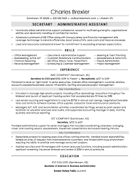 Secretary Resume Sample Examples With Rh Sonicajuegos Com Unit Objective
