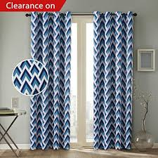 Geometric Pattern Grommet Curtains by Geometric Blue Curtain Amazon Com