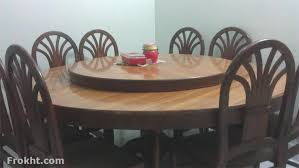 Rotateable Round Dining Table With 8 Chairs