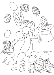 Decorated Easter Eggs Printable Coloring Pages Bunny Magician Free For Kids