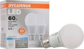 sylvania 60w equivalent led light bulb a19 l 2 pack