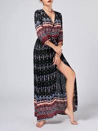 tribal print button down split bohemian dress in black m