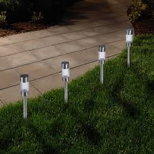 Walmart Patio Umbrellas With Solar Lights by Solar Powered Lights Set Of 6 Low Voltage Led Outdoor Steak