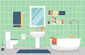 moderner badezimmerinnenraum mit möbeln im flachen stil entwerfen sie ein modernes bad zahnpasta und zahnbürste rasierer und lotion illustration