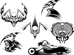 Set Of Motor Racing Skulls In Black And White Designs With A Grim Reaper Holding Checkered Flag Skull On Handlebars Skeleton Speeding