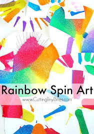 Educational Arts And Crafts Rainbow Spin Art Fun Process Painting Craft For Toddlers Preschoolers Or