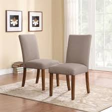 Dorel Living Linen Parsons Chairs Taupe Dark Pine 2 Pack