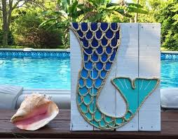 Handmade Mermaid Tail Beach Pallet Art Coastal Decor
