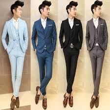2017 Men Grey Vintage Suits Casual Club Blue Trendy For Blazer Classic Black