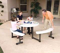amazon com lifetime round picnic table and benches 44 inch top
