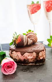 Chocolate Covered Strawberry Cheesecake for Two Creamy strawberry cheesecaked with an oreo crust topped